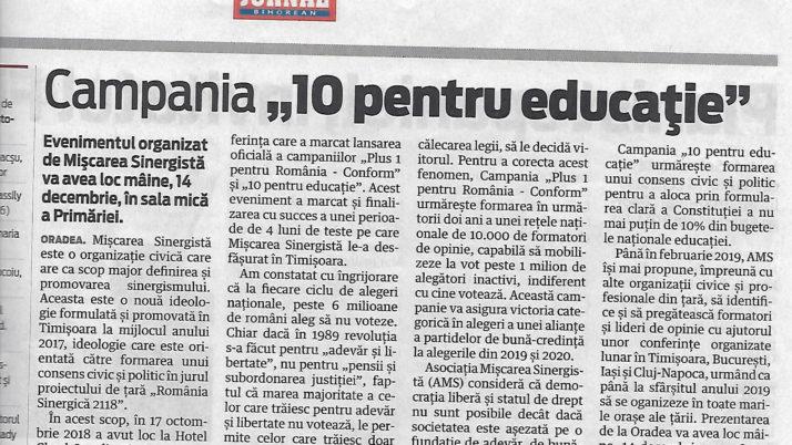 """Campania """"10 pentru educaţie"""""""